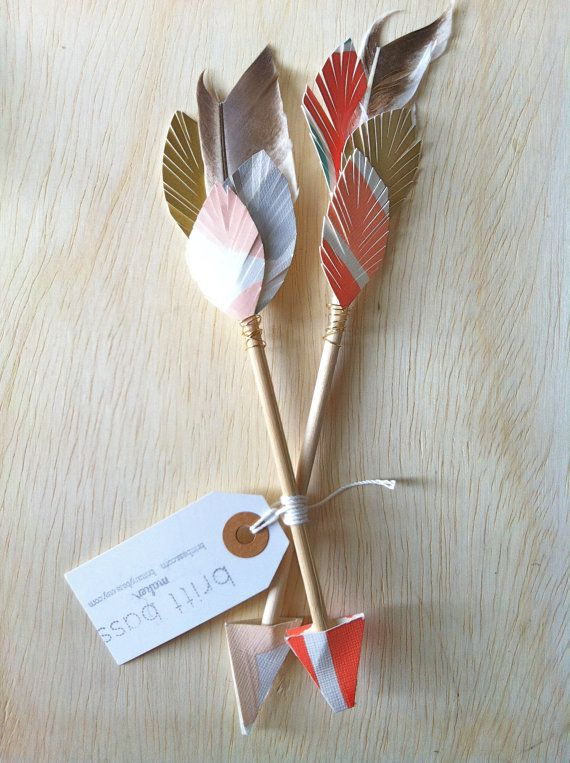 Mini hand painted lover pair arrows by Brittany Bass on Etsy.