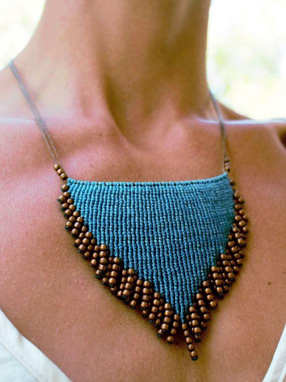 Macrame unique design hand-woven macrame necklace thread by tecomo