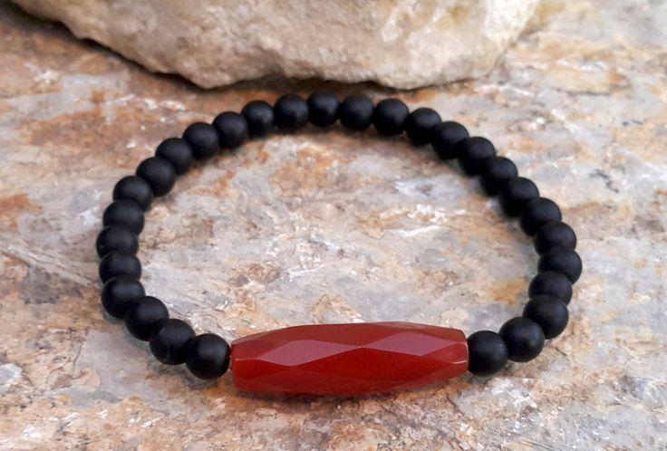 Carnelian Bracelet, Root Chakra, Reiki Charged, Grounding Bracelet, Minimalist Bracelet, Black Onyx, Red Carnelian, Healing Jewelry #beaded #gemstones #healing #bracelet