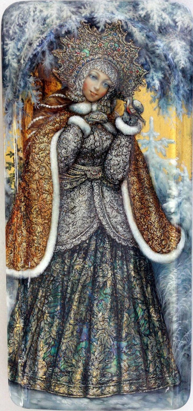 Shapkin Oleg, Fedoskino lacquer box, Lady Winter