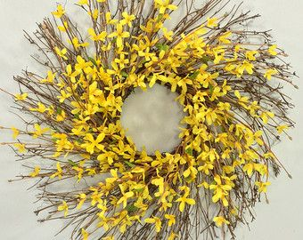 WREATH SALE Cherry Blossom and Forsythia Wreath by ElegantWreath