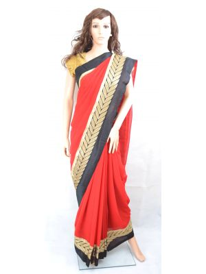 #BOLLYWOOD RED/BLACK #GEORGETTE #SAREE WITH GOLDEN EMBROIDERY BORDER #PrettyStyle #UK