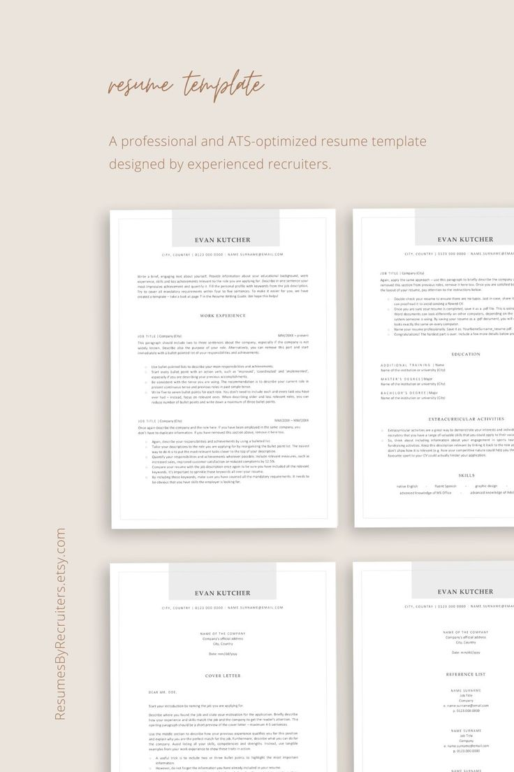 ATS friendly Resume Instant Download CV Template for Word