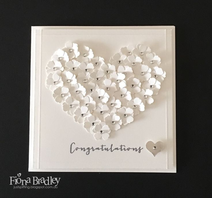 Congratulations - love heart flowers - wedding - engagement - Stampin' Up! - Just Spiffing by Fiona Bradley