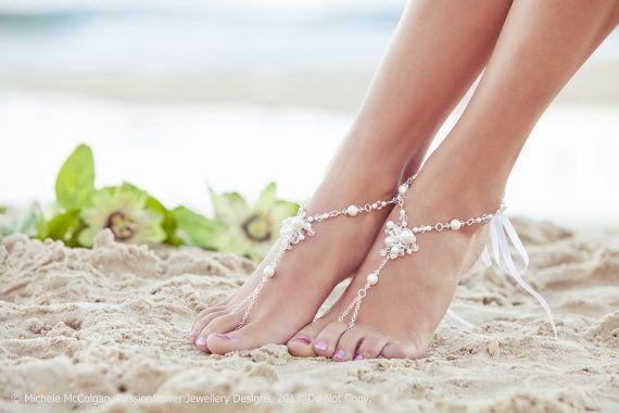Bridal barefoot sandles, beach wedding jewelry, destination wedding foot jewellery,  bohemian shoes. JESSICA White Large