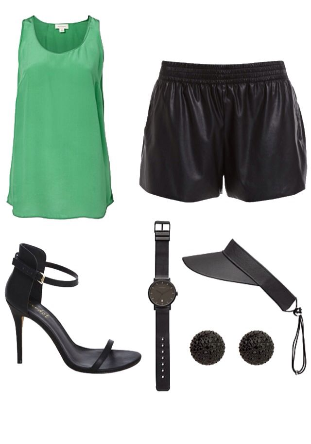 Sports chic. Silk tank, leatherette shorts, stap heel, visor with a black on black watch and some earrings (shop Mimco, Witchery and Bardot Australia)