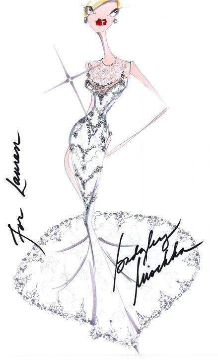 Sketch of Lauren Conrad's Badgley Mischka wedding dress