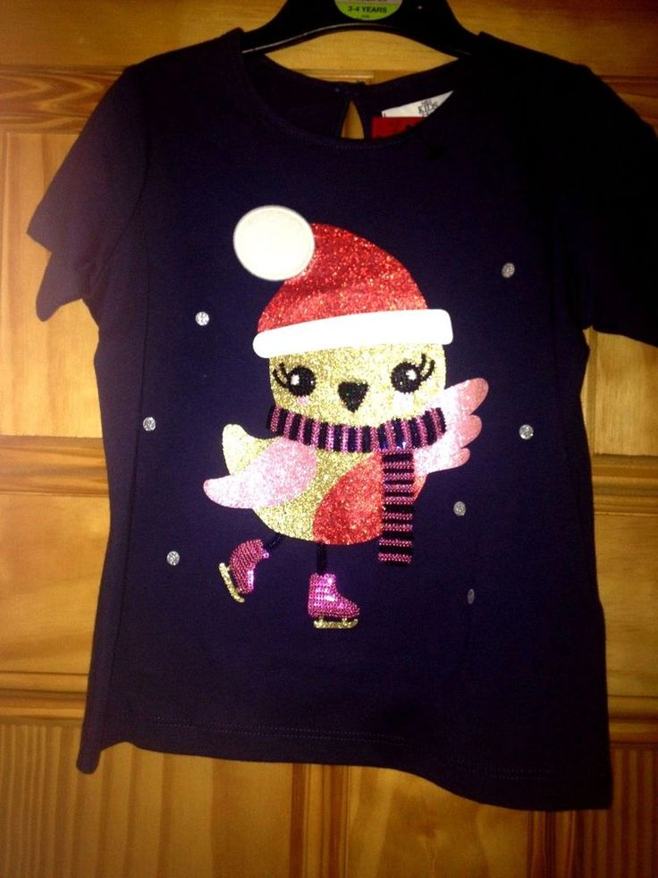 Girls Christmas Top - T-Shirt - Marks & Spencer - Age 3/4 years - New w/tags #MarksSpencer