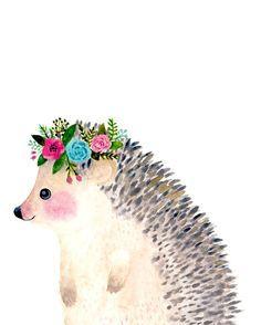 Watercolor hedgehog Woodland nursery Animal by zuhalkanar on Etsy