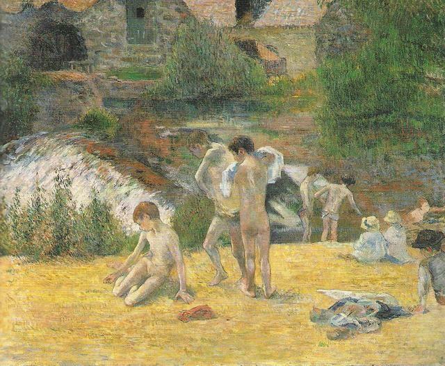 Bambini bretoni che fanno il bagno, 1888, olio su tela, Paul Gauguin. Kunsthalle, Amburgo, Germania