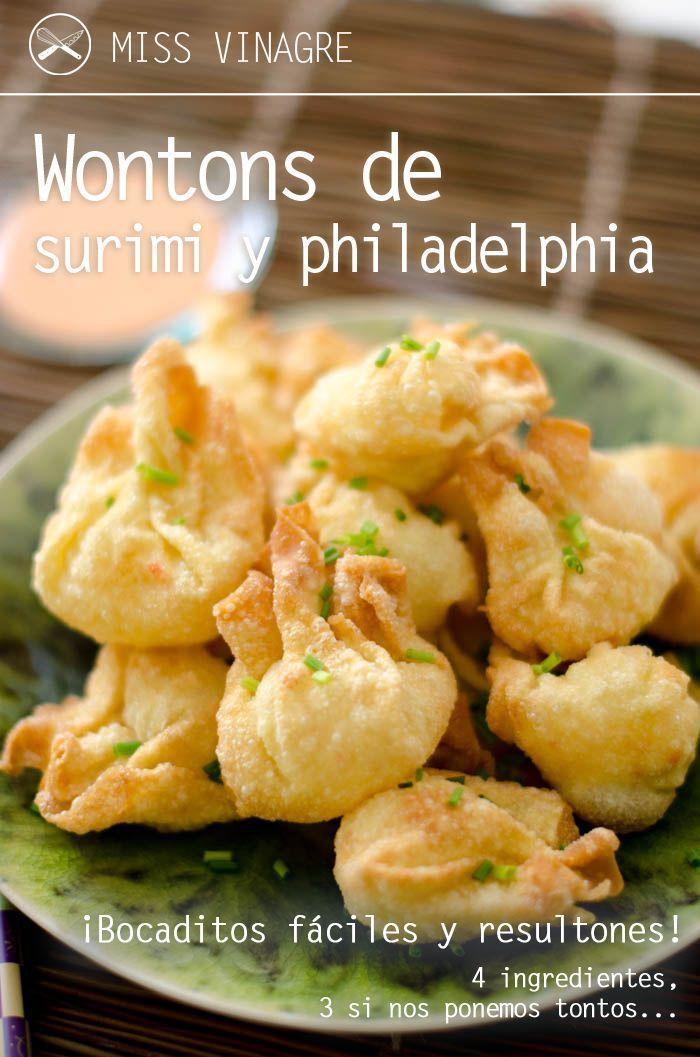 Aprende a hacer unos deliciosos wontons de surimi y philadelphia, sólo 4 ingredientes para dejar picuetos a tus invitados. Muy ricos y sencillos. | https://lomejordelaweb.es/