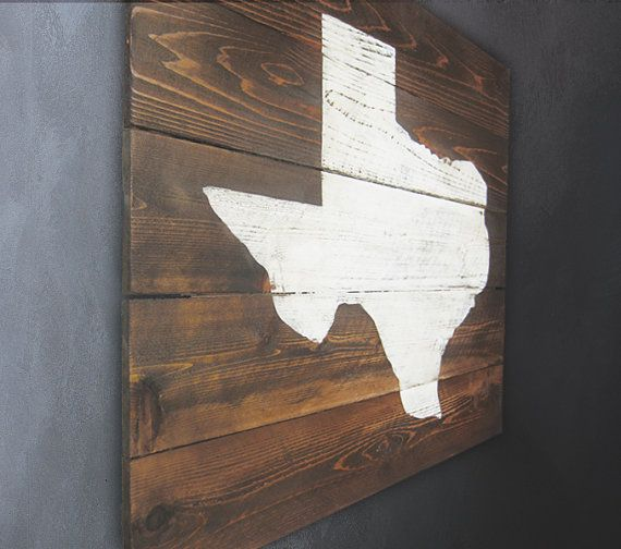 Rustic Texas Map Whitewash Wall Art by RusticPost on Etsy