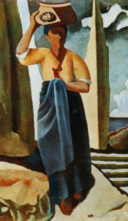 Whanki Kim(김환기), 종달새가 노래할 때. 1935. Oil on canvas. Korea