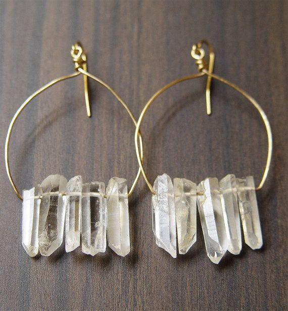 Chrystal Quartz Cluster Earrings  14k Gold by friedasophie on Etsy, $56.00
