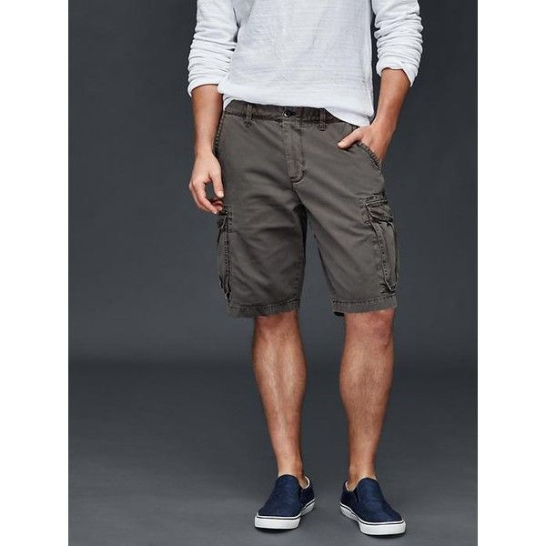 "Gap Men Cargo Shorts 11"" ($50) ❤ liked on Polyvore featuring men's fashion, men's clothing, men's shorts, dark gray and regular"