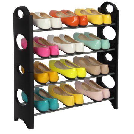 Storage Solutions Stackable 4 Tier Plastic Shoe Rack Closet Organizer 12 Pair Capacity Shoe Rack Plastic Shoe Rack Stackable Shoe Rack