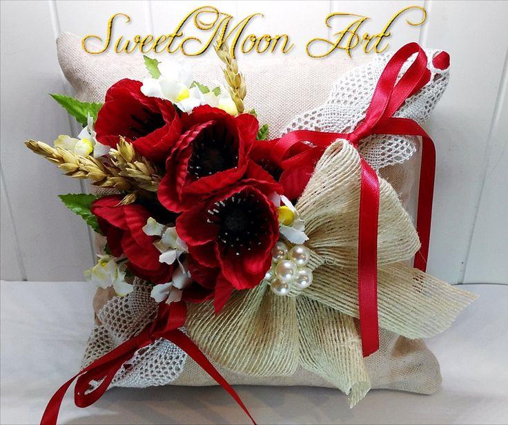 Cojín portador anillos boda cojín para alianzas cojín anillos boda rústica almohada portadora anillos flores cojín anillos boda en el campo de SweetMoonArt en Etsy