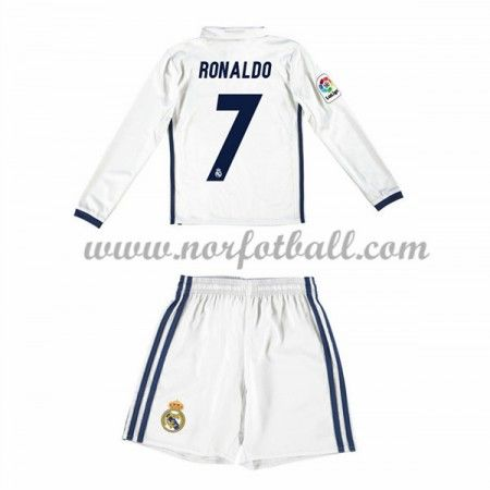 Billige Fotballdrakter Real Madrid 2016-17 Ronaldo 7 Barn Hjemme Draktsett Langerme