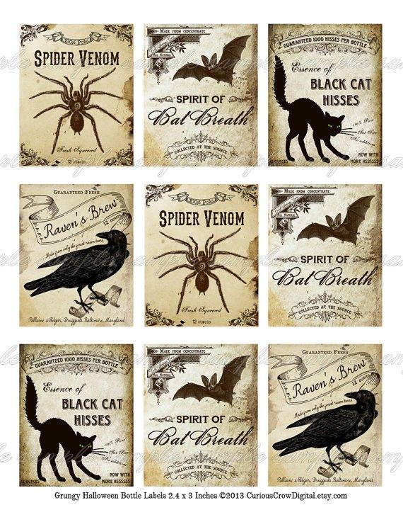 Creepy Halloween Labels Halloween Bottle Labels - LoveItSoMuch.com