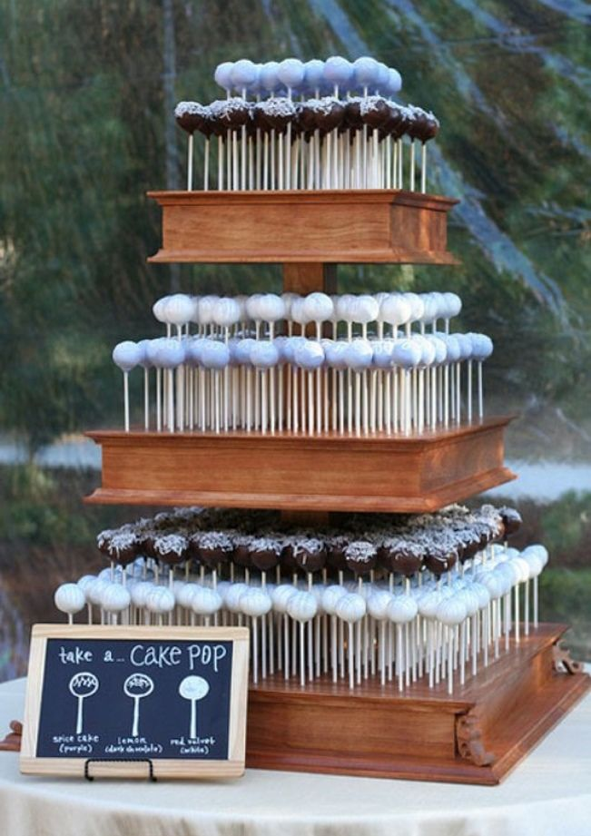 "Sweet Violet Bride - http://sweetvioletbride.com/2013/11/10-wedding-cake-alternatives/ 7. Cake Pops Whether you create a ""cake tower"" out of them or display them in pretty jars on a table, there is nothing quite as mobile as a cake pop. If you have an outdoor reception where people are walking around playing lawn games and such, these are super easy and fun to eat."