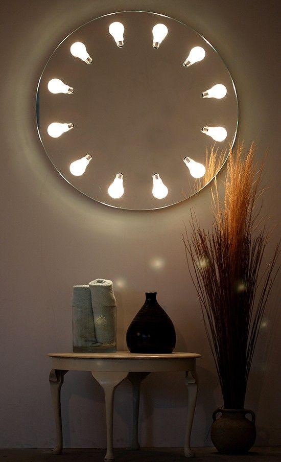 Unique decorative round wall lamp, mirror, lighting,