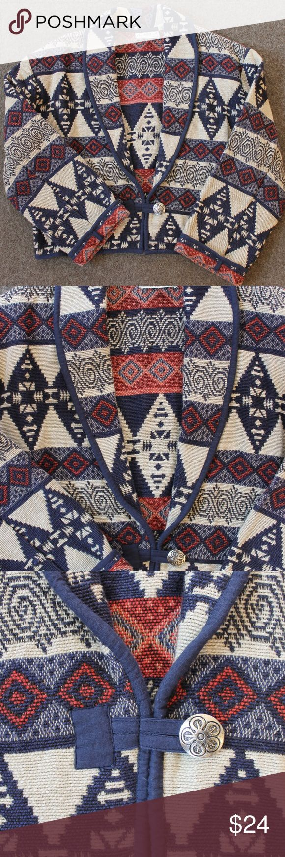 """Southwestern Tapestry Woven Jacket Heavy 100% cotton doubleweave jacket. Wide collar with lapels. Single metal button and loop closure. Sleeves can be cuffed. Beautiful Southwest pattern in navy blue and rust on a cream background. Size M. Measurements are: 21"""" long from shoulder to hem, 22"""" across at underarms, 18"""" across at hem. Sleeve inseam: 16"""". Drycleaning recommended. Excellent condition. Flashback Jackets & Coats Blazers"""
