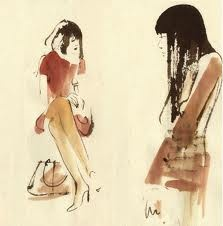 Aurore de La Morinerie - Illustration of Susie  and Amy's conversation during the Arts of Fashion Tandem-series 2008 at the SFMoMA