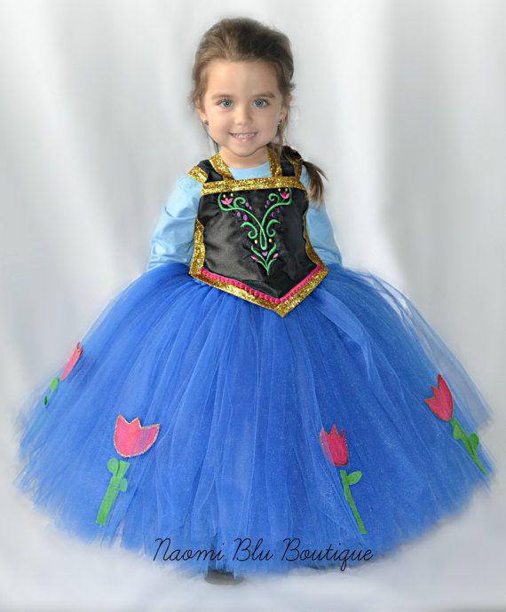 Disney Inspired Frozen Princess Anna Tutu Dress. Great for birthdays, photos, costume and princess parties