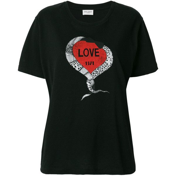 Saint Laurent snake love heart T-shirt (25.945 RUB) ❤ liked on Polyvore  featuring tops, t-shirts, black, yves saint laurent t shirt, short sleeve  tops, ... 8e039750aaa