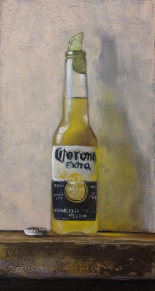 Still life Corona beer: oil painting of Marc-André Robert  marcandrerobert.ca