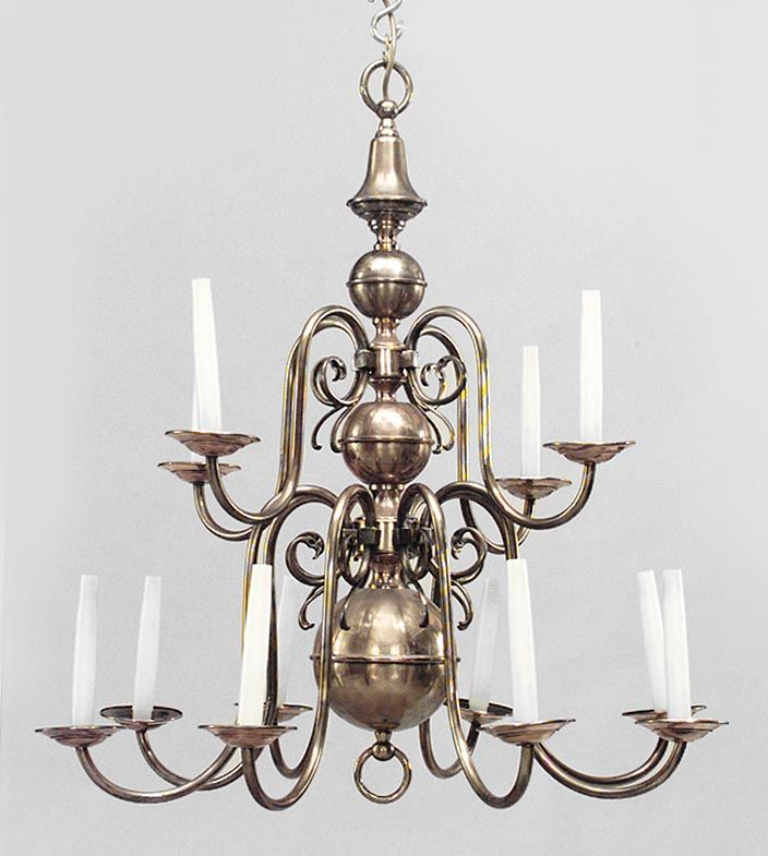 English Georgian lighting chandelier brass