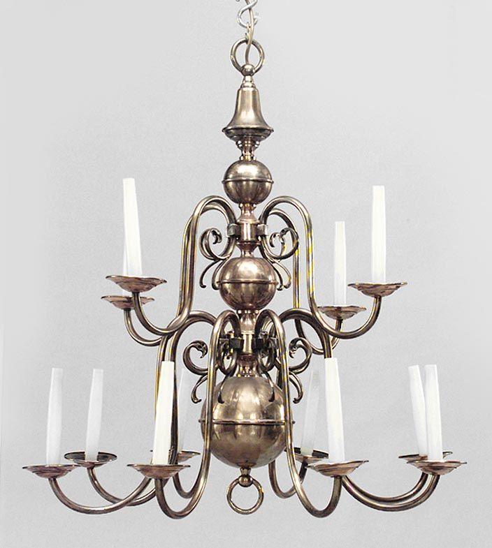 English Georgian lighting chandelier brass