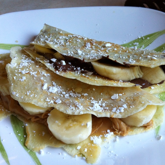 Banana, peanut butter, and nutella crepes for breakfast. :) 2 eggs 1 ...