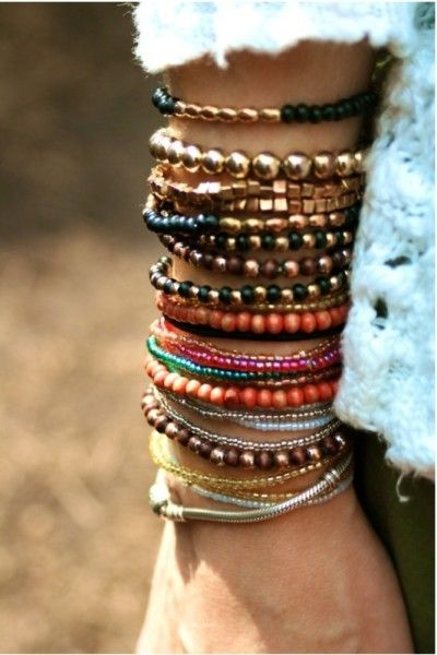 how to stack bracelets for your pretty arm candy                                                                                                                                                     More