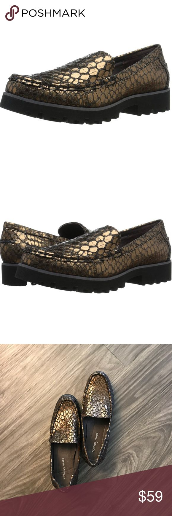 Donald J Pliner Rio2 Loafer This trend-right loafer is made for everyday wear. The RIO slip-on is detailed with metallic pebble texture that will make any look pop. The padded footbed offers all day comfort. 100% Leather. Rubber sole. Upper is antique metallic pebble print leather. Full ethylene vinyl acetate unit bottom outsole. Donald J. Pliner Shoes Flats & Loafers