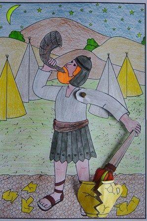 Richteren 7: Gideon overvalt de Midjanieten. Er wordt op de ramshoorn geblazen en fakkels meegedragen.