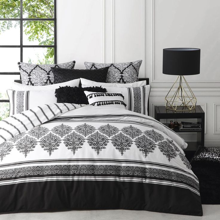 Tangier Black Quilt Cover Set By Logan and Mason