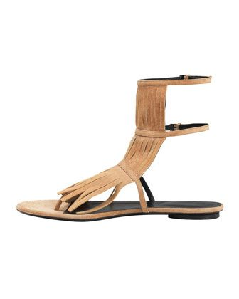 Gucci Becky Fringe Thong Sandal, Camelia - Neiman Marcus