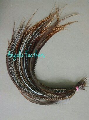 5 X CREE GRIZZLY FEATHER HAIR EXTENSIONS