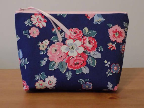 Welcome to Rosedale Crafts!  Cath Kidston 'Forest Bunch' Make Up Bag  This beautiful make up bag is well made from a very high quality cotton canvas fabric by Cath Kidston called 'Forest Bunch' and features colourful groups of light pink, rose and white flowers on a dark blue