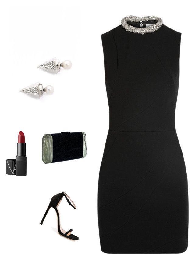 """OUT"" by ruhan-victor ❤ liked on Polyvore featuring Stuart Weitzman, Vita Fede, Edie Parker and NARS Cosmetics"