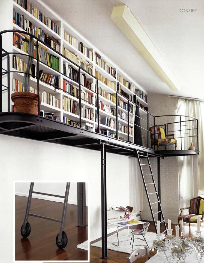I would love a lofted library in my home.