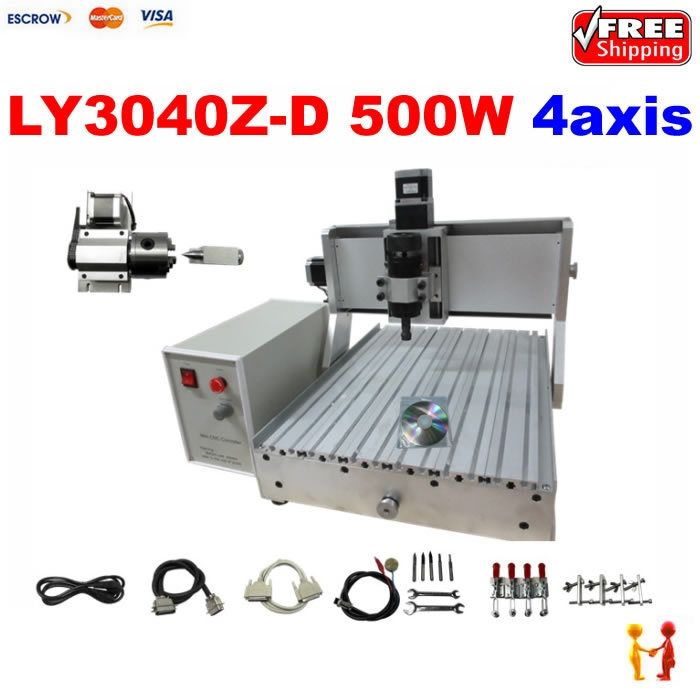 1220.00$  Watch now - http://ali8pp.worldwells.pw/go.php?t=32342377136 - 4axis drilling machine LY CNC 3040 Z-D500W assembled with linear bearings+rotational axis cnc router machine, Free shipping! 1220.00$