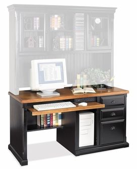 Kathy Ireland Home By Martin Furniture   Southampton Onyx W Deluxe Computer  Desk With Storage Hutch