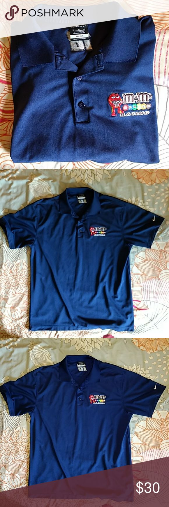 Nike Dri-fit M&M's Racing Kyle Busch polo shirt Nike Dri-fit M&M's Racing Kyle Busch polo shirt  Dark blue, size XL  Garment is in good condition. Feel free to ask questions! Nike Shirts Polos