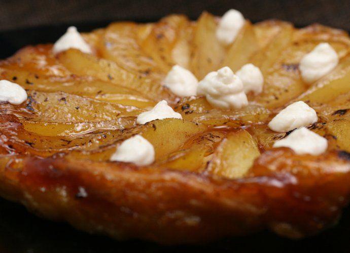 Tatin de pera con mousse de queso manchego para #Mycook http://www.mycook.es/cocina/receta/tatin-de-pera-con-mousse-de-queso-manchego