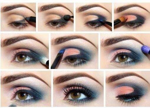 Step by step eye makeup. Blue-coral evening eye makeup for brown eyes