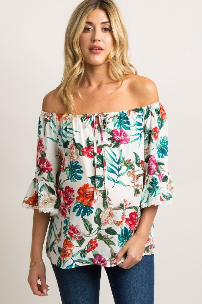 f60acc5adaac7 White Tropical Print Off Shoulder Top An off shoulder maternity top  featuring a tropical floral print