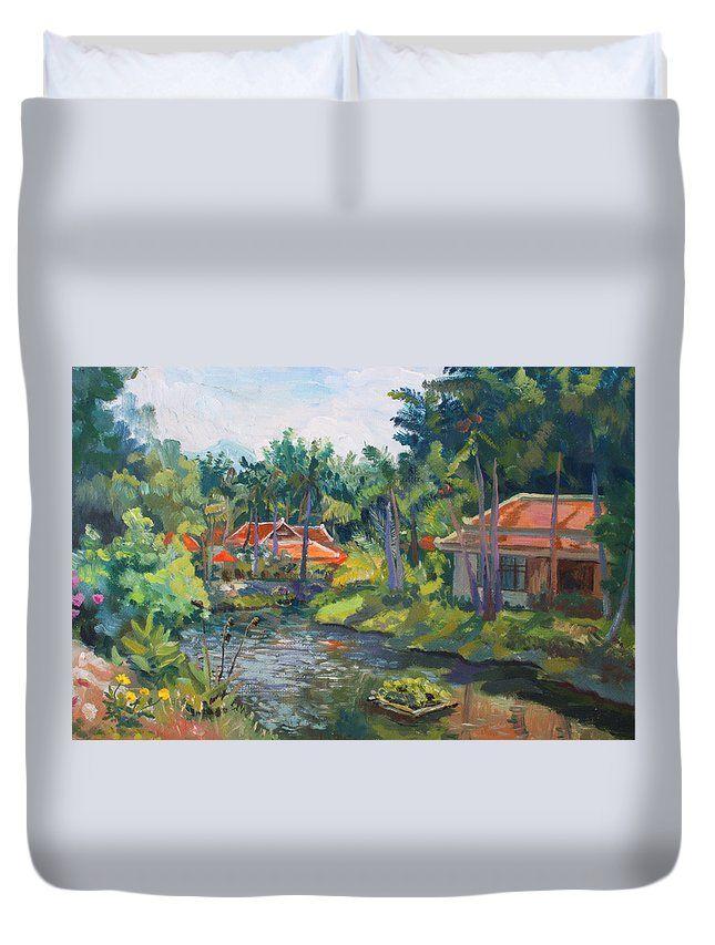 SAMUI LIFE by ALINA MALYKHINA.  Belongs to the Gallery RUSSIAN ARTISTS NEW WAVE. #RussianArtistsNewWave #AlinaMalykhina #Water #Summer #Love #Joy #Art #Painting #ArtForHome #Prints #Samui #Thailand #Travel #Leisure #Duvet #BedRoom #BedRoomIdeas