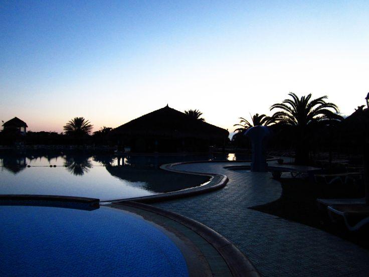 Sunrise in a hotel resort in Tunisia